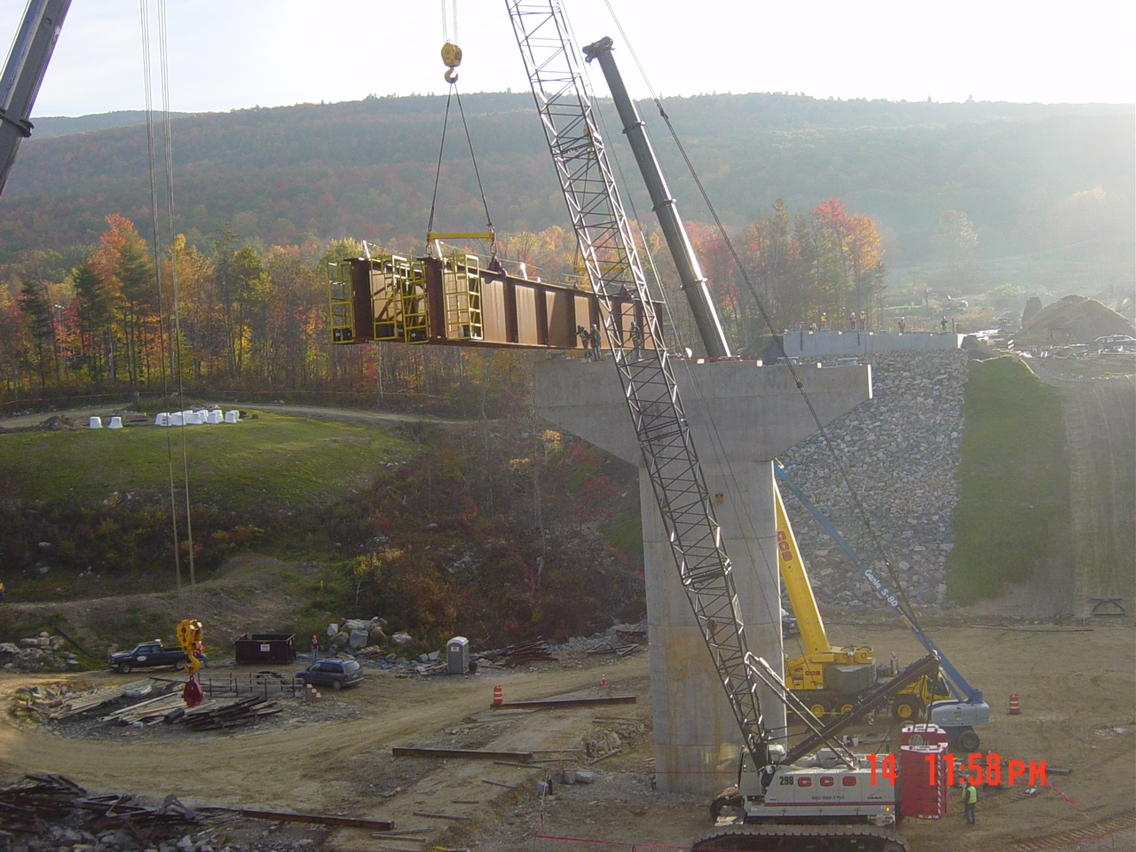 Setting a pair of radius bridge girders-Furnace Brook Bridge
