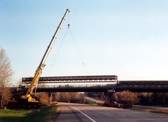 Installing Pedestrian Bridge over I-89 -Colchester, VT